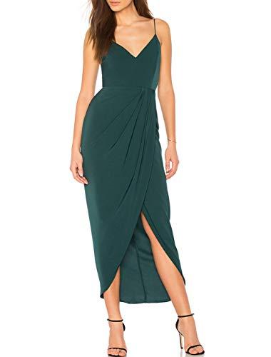 CMZ2005 Women's Sexy V Neck Backless Maxi Dress Sleeveless Spaghetti Straps Cocktail Party Dresses 71729 (M, Green)