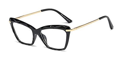 ZEVONDA Gafas Mujer - Vintage Ojo de Gato Transparente Cristal Grandes Monturas de Gafas Lente Claro Moda Accesorios, Negro