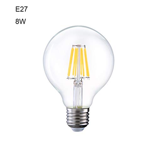 Familie LED-lampen, E27, grote warmwitte schroef, 2700 K ~ 3000 K, 6 W, 8 W, transparant glas