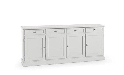 Buffet en bois 4 portes et 4 tiroirs blancs, classique et moderne.