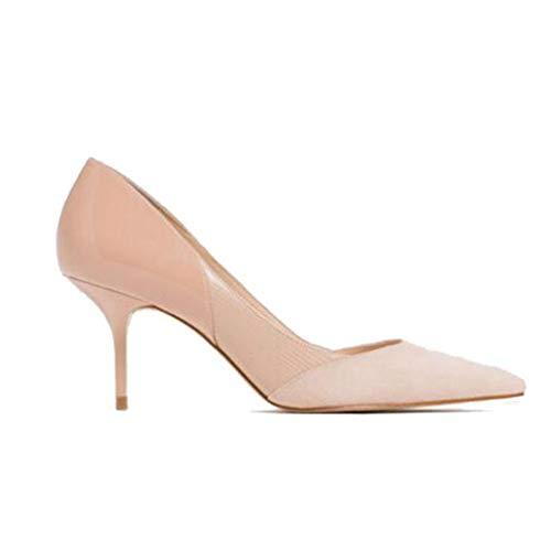 Zapatos De Salón con Plataforma para Mujer Tacones Altos Zapatos De Corte Beige Vestido Elegante con Punta Puntiaguda Zapatos De Fiesta De Boda para Damas