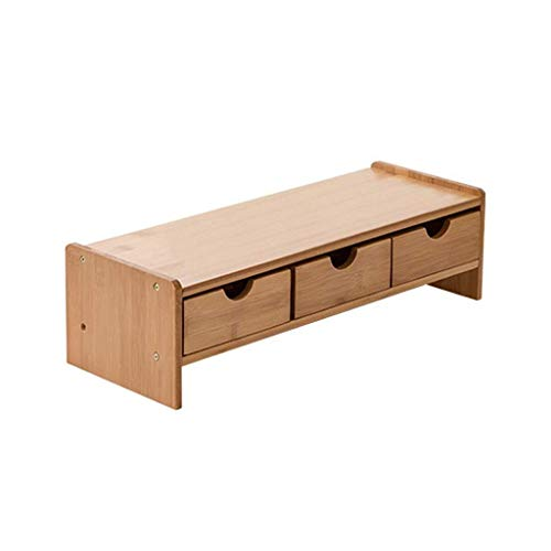Monitor Stand Office Desktop Storage Stand Solid Wood Neck Screen Pad High Rack Wooden Shelf Suitable for Computer Display, Laptop, Printer, fax Machine