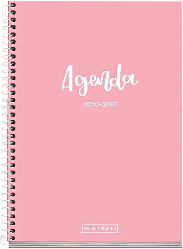 MIQUELRIUS - Agenda Escolar Basic Curso Lectivo 2020-2021, Español, Semana vista, Tamaño 155x213 mm, Papel 70 g, Cubierta cartón extraduro, Color Rosa