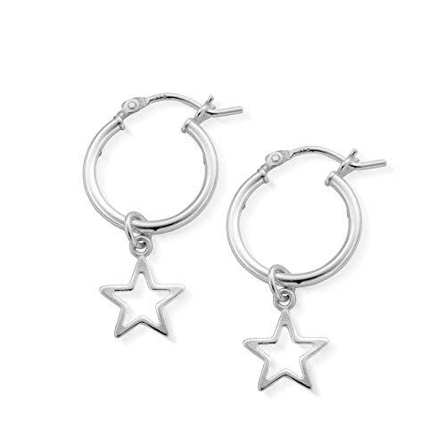 ChloBo Pendientes de aro de estrella abierta SEH097