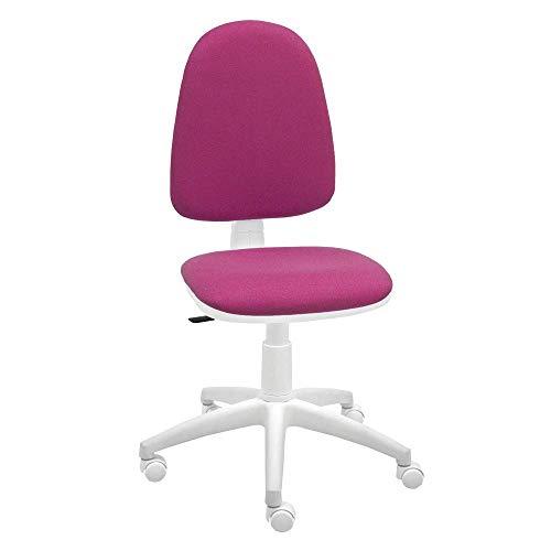 Silla giratoria Blanca de Oficina y Escritorio, Modelo Torino, diseño 100% Blanco ergonómico con Contacto Permanente (Rosa Fucsia)