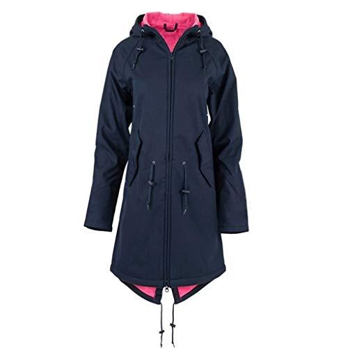 iHENGH Damen Frühling Herbst Mantel bequem Solide Regenjacke Outdoor Jacken mit Kapuze Regenmantel Winddicht Parka Coat(Marine-1, 3XL)