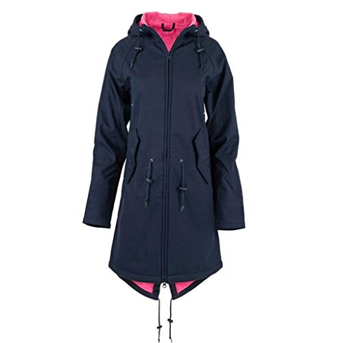 iHENGH Damen Frühling Herbst Mantel bequem Solide Regenjacke Outdoor Jacken mit Kapuze Regenmantel Winddicht Parka Coat(Marine-1, M)