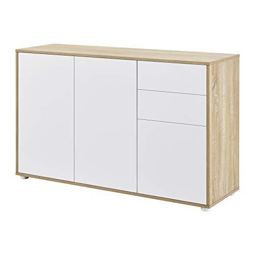 [en.casa] Cómoda Armario 74 x 117 x 36 cm con 2 Cajones y 3 Puertas Organizador de Oficina Sideboard Cajonera Multiusos Mueble Auxiliar Sin Mango Blanco y Efecto Roble