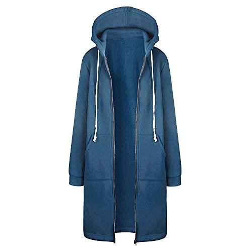 Kobilee Sweatjacke Damen Lang mit Kapuze Oversize Baumwolle Reißverschluss Hoodie Herbstmantel Übergangsjacke