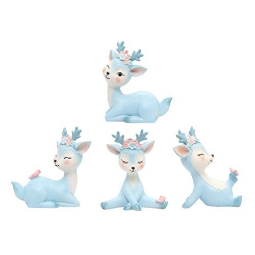 Happyyami 4 Piezas Adorables Ciervos Escritorio Decoración Delicada Resina Arte Artesanía para La Decoración del Hogar