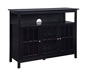 Convenience Concepts Big Sur Deluxe 48  TV Stand with Storage Cabinets and Shelf Black