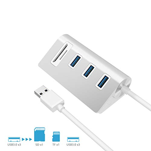 Rytaki 5 in 1 Aluminum USB 3.0 Hub, 3 Port USB 3.0 Hub with SD/TF(Micro SD) Card Slot Combo for i Mac, Mac Book Air/Pro, Mac Book, Mac Mini, or any PC/Laptop, Silver
