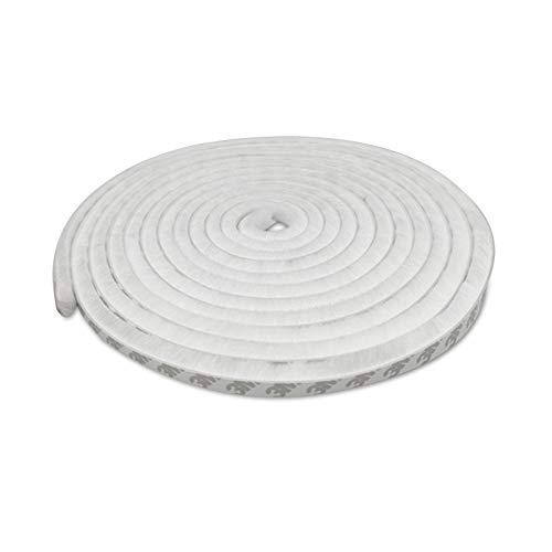 Mousyee Burlete de Cepillo, Burlete Cepillo Sellado Resistente al Polvo de 9 x 15 mm x 6 m con Fieltro de Alta Densidad Tira de Protección Contra Corrientes de Aire para Puertas y Ventanas (Blanco)