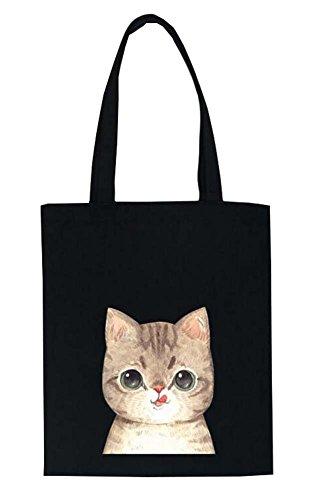 Black Temptation Entzückende Katze-Muster-Frauen-Segeltuch -Schulter-Handtaschen -Einkaufstasche