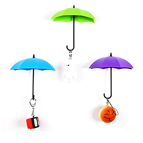 TrifyCore 3D-Wandhaken in Regenschirmform, 3Stück, wieder entfernbar, selbstklebend, geeignet als Schlüsselhaken, zufällige Farbauswahl