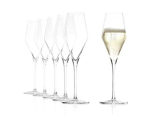 Stölzle Lausitz Champagnergläser Quatrophil 290ml I Champagnerkelche 6er Set bruchsicher I Schaumweingläser 6 Stück spülmaschinenfest I Edle Kristallgläser wie mundgeblasen I Beste Qualität