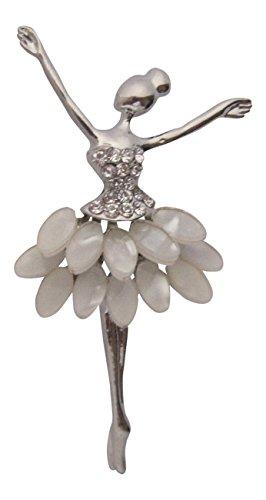 Broche Boutique y ojo de gato de cristal blanco chapado en plata Broche de bailarina colgante Dancing Lady Dancer broche
