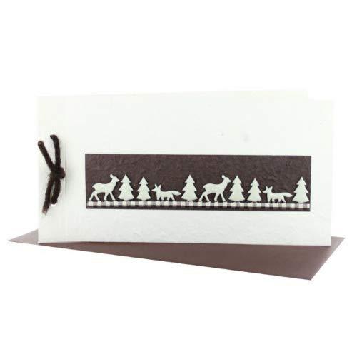 exklusive Weihnachtskarten Naturpapier creme DIN lang + Kuvert