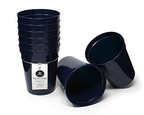 Rolling Sands 16 Ounce Reusable Plastic Stadium Cups Navy, 8 Pack, Made in USA, BPA-Free Dishwasher Safe Plastic Tumblers