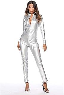 Jumpsuit Faux Leather Jumpsuits Rompers Long Sleeve Open Crotch Zipper Catsuit Bodysuit Clubwear Costume (Color : Silver, Size : XXXX-Large)