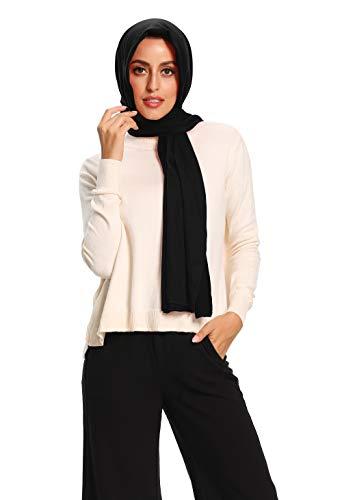 Hijab for Women Jersey Hijab Scarfs for Women Head Scarf Muslim Head Wraps (Black)