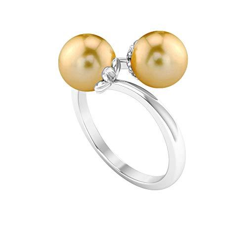 Anillo de doble perla, único anillo de promesa, anillos envolventes para mujer 14K Oro blanco