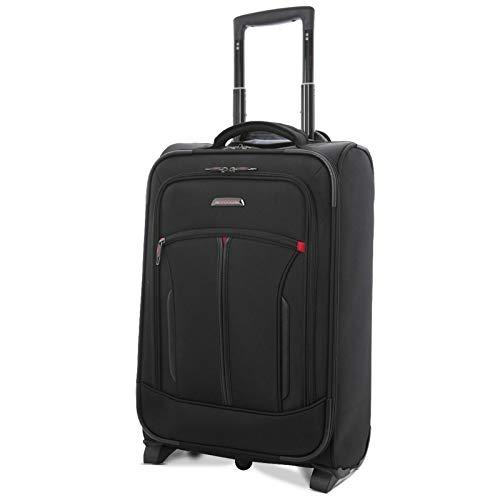 Aerolite 55x35x20cm IATA Handgepäck mit Notebookfach Vortasche für Notebooktasche - Zugelassen für Lufthansa, Air Berlin, Ryanair, und Mehr, Schwarz