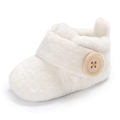 Meeshine Newborn Baby Girls Boys Slippers Warm Fur Infant Toddler Boots Slip On Booties Shoes White 6-12 Months