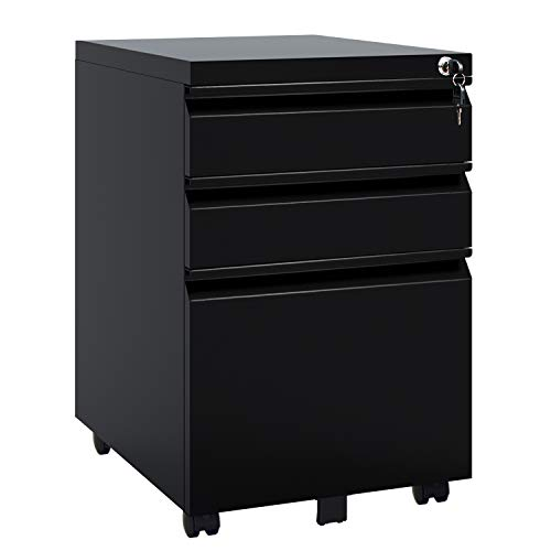 DEVAISE 3 Drawer Mobile File Cabinet with Lock, Metal Filing Cabinet Legal/Letter Size, Fully Assembled Except Wheels, Black