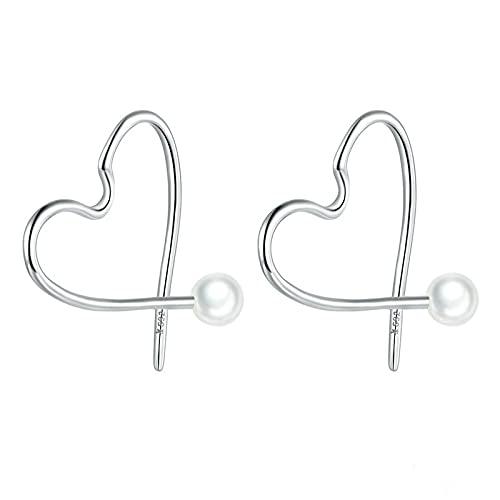 Pendientes De Aro Con Forma De Corazón De Perlas De Concha Para Mujer, Pendientes De Aro De Plata De Ley 925 Minimalistas, Simples, Elegantes, Para Bodas