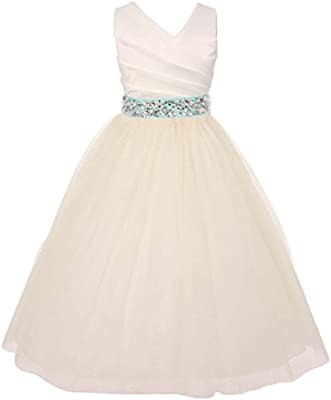 Girls Dress Custom Rhinestone Belt Communion Wedding Flowers Girls Dresses 2-14