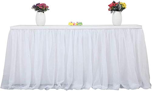 Perfectii Cumpleaños De Paño Blanco, Mesa De Falda De Novia, Mesa Bebé Ducha Partido Redondo Cuadrado Mesa Decorar Casa Decoración 185 X 76cm (Blanco)