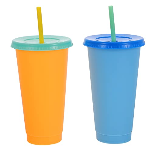 HEMOTON Taza cambiante de color con tapa, vaso de agua reutilizable para café, té helado, bebidas de leche, botella para bebidas de jugo frío, tazas de fiesta
