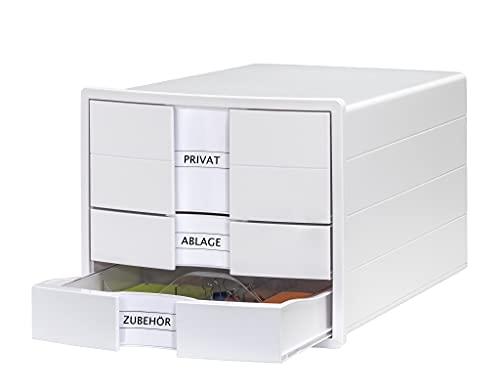HAN IMPULS 1017-12 - Cajonera con 3 cajones cerrados y divisor para DIN A4/C4, color blanco