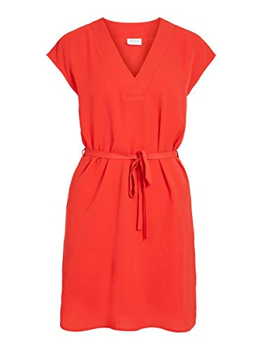 Vila Clothes Damen VIJAHULA S/S Belt Dress/SU Kleid, Flame Scarlet, 34
