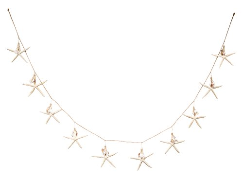 Nautical Garland | White Starfish with Mini Shell Dangles | 6' Beach Garland for Decoration | Plus Free Nautical eBook by Joseph Rains