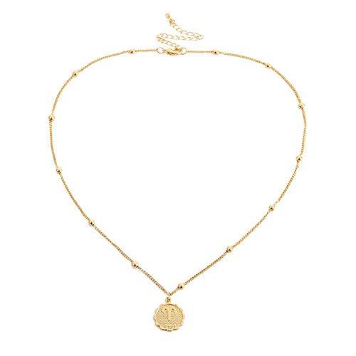 Dfgh Twaalf sterrenbeelden Coin Ketting Verklaring Copper Leo Hanger Collier Vrouwen sieraden Twaalf horoscoop sleutelbeen keten (Main Stone Color : Gold, Metal Color : Aries)