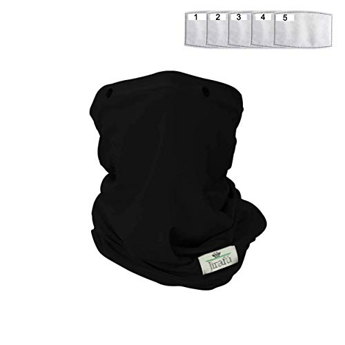 Face Mask Reusable Cloth Washable Neck Gaiter Disposable Activated Carbon Filter Pocket Men Women Shield Breathable Cotton Fabric Covering Respirator Nose Mouth Cover Cooling Summer Heat Dust (BLACK)