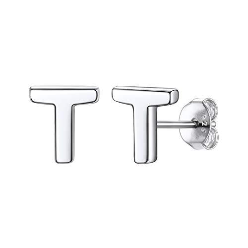 ChicSilver Initiale Buchstabe Ohrringe aus 925 Sterling Silber Damen Alphabet T Ohrhänger mit Schmuckbox für Mädchen