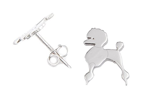 Caniche perro pendientes plata de ley 925joyas 001op