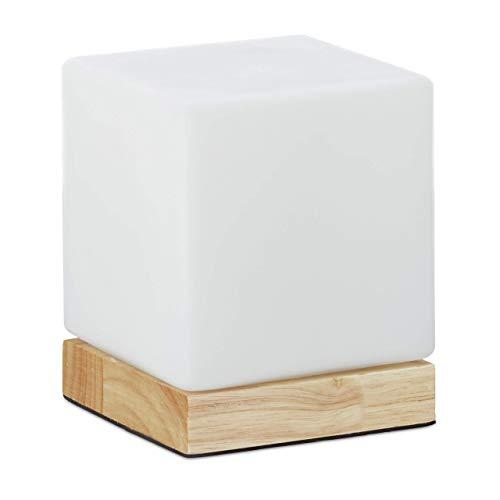 Relaxdays Tischleuchte, Tischlampe Milchglas, verschiedene Formen, Holzsockel, weiß