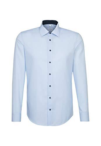 Seidensticker Herren Business Hemd Slim Fit – Bügelfreies Businesshemd, Blau (Hellblau 14), (Herstellergröße: 41)