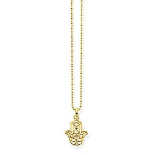 THOMAS SABO Damen-Kette mit Anhänger Fatimas Hand Ornamentik Silber vergoldet Diamant (0.2 ct) weiß 0.1 cm - D_KE0017-924-39-L45v
