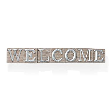 Barnyard Designs Large Vintage Wooden Welcome Sign with Galvanized Metal Lettering | Primitive Country Home Decor, Built In Brackets For Hanging, 47  x 6.75  x 1.5