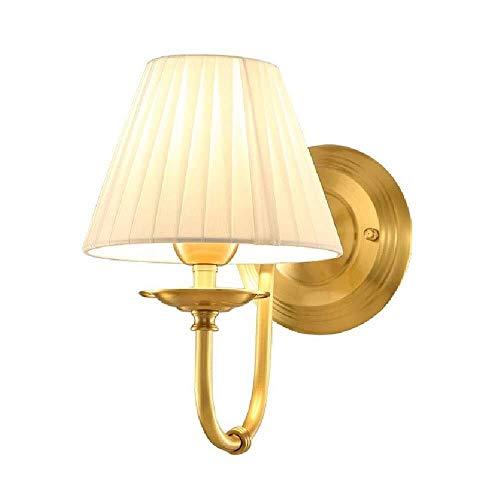 Wandverlichting en eenvoudige stoffen kap, voor slaapkamer, hal, balkon, muur, van koper + doek 10,23 x 7,08 in