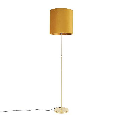 QAZQA Rústico Lámpara de pie bronce pantalla lino blanco 45cm ajustable - PARTE Textil/Acero Redonda/Alargada/Cilíndra Adecuado para LED Max. 1 x 60 Watt