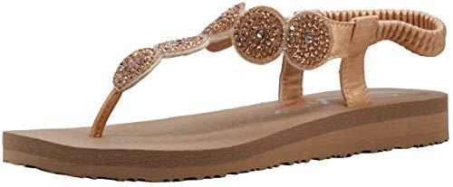 Skechers Women's Meditation Stars & Sparkle Circular Rhinestone Slingback Thong Rose Gold Flip-Flop 7 M US