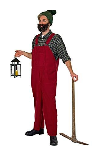 shoperama Herren Kostüm Latzhose Zwerg Gärtner Wichtel Gnom Märchen Garten Wildleder-Optik JGA, Größe:M/L, Farbe:Bordeaux