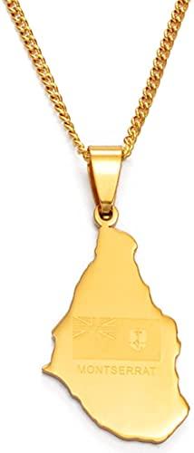 YZXYZH Collar Mapa de Montserrat Reino Unido Colgante y Collar de Cadena Fina de Acero Inoxidable Mapa de Montserrat Regalo de joyería # 054621