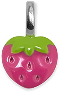 Alex Woo Sterling Silver Mini Addition Strawberry Enamel Charm, Hot Pink and Green, 0